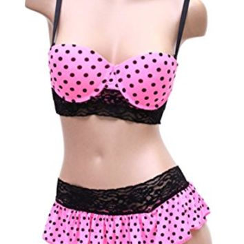 Sexy Pink Push up Polka Dot Bra and Skirt Thong Set