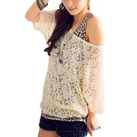 Allegra K Women's Half Sleeve Elastic Hem Lace Shirt Leopard Prints Tank Top