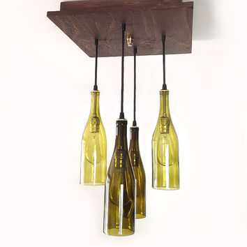 Rustic Wine Bottle Chandelier - Wine Bottle Pendants, Modern Chandelier, Man Cave, Wine Cellar, Kitchen Lighting, Entry Way