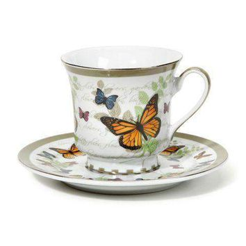 Butterfly Discount Tea Cups and Saucers - Set of 6 Cheap Price!  $3.95 Shipping or order 2 sets for FREE Shipping!