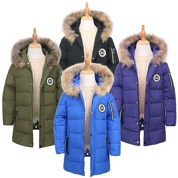 5-12Y Boys Girl Duck Down Parkas Children Clothes Coat Kids Faux Fur Hooded Outerwear Thicken Warm Long Style Winter Coats