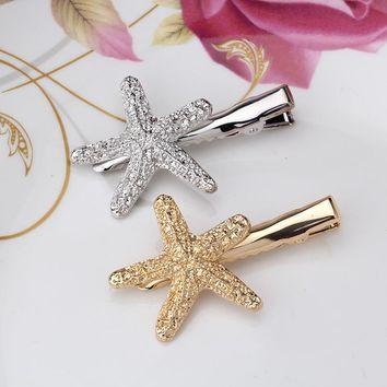 Summer Style Women 4.2 cm Gold Starfish Headdress Girls Hair Accessories Silver Sea Star Hairpins for Charming Female Hair clips