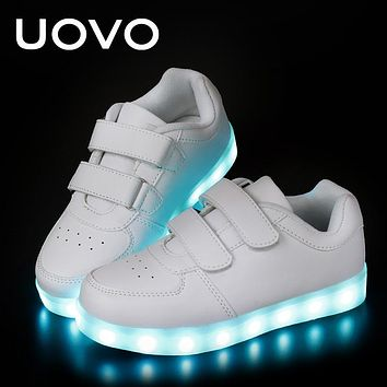 Kids Luminous Shoes toddler Boys Girls LED White Shoes USB Charger Casual Sneakers Light Up Neon Glow Shoes