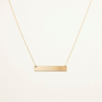 Personalized Gold Bar Necklace / Engraved Gold Name Plate Necklace / 14K Gold Fill Personalized Jewelry / Gold Name Bar Necklace, LN101h