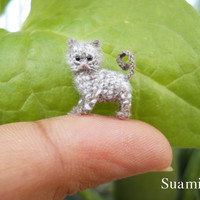 1/2 Inch Grey Cat Kitten  Micro Crochet Miniature Kitten by SuAmi