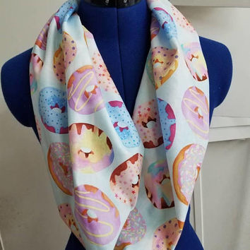 Donut - donuts - doughnut - sprinkles - chocolate - frosting -  fabric  - infinity  - scarf - single - loop