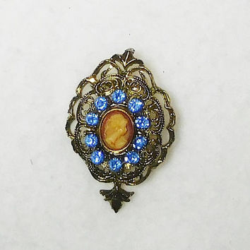 Cameo Brooch, Blue Rhinestones, Antiqued Gold Tone, Large Setting, Art Nouveau, Victorian Cameo, Fancy Setting, Vintage
