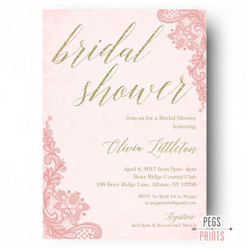 Pink and Gold Bridal Shower Invitations - Gold Bridal Shower Invitation - Glitter Bridal Shower Invitation - PRINTABLE Bridal Shower Invites