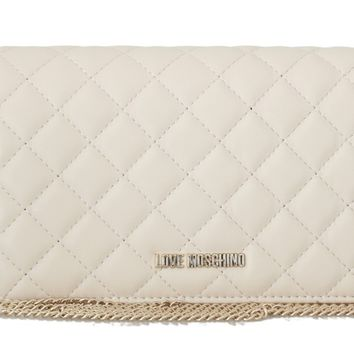 White Quilted Faux Leather Messenger Bag