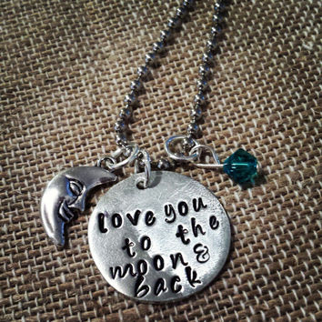 Hand Stamped Pewter Love You to the Moon & Back