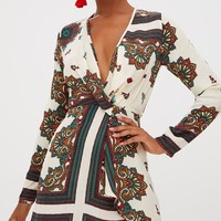 White Printed Silky Long Sleeve Wrap Dress