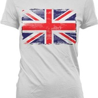 Distressed Faded Great Britian Flag Juniors T-shirt, Great Britain Flag Junior's Tee Shirt