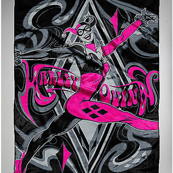 Harley Quinn Aces Fleece Blanket - Spencer's