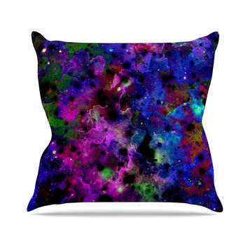"Ebi Emporium ""Color Me Floral"" Celestial Blue Throw Pillow"