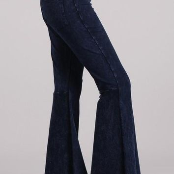 Electric Blue Mineral Wash French Terry Pants