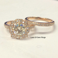 Round Moissanite Engagement Ring Sets Pave Diamond Wedding 14K Rose Gold 7mm Art Deco Vintage