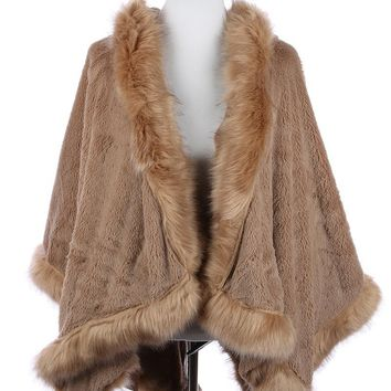 Faux Fur Trim Hooded Cape Poncho 32
