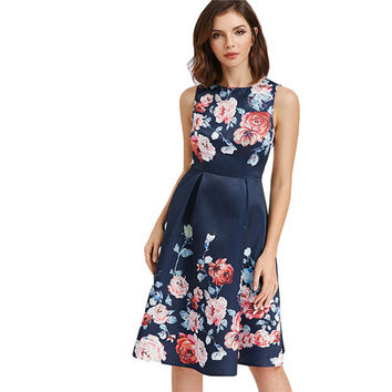 Floral Party Dress Women Navy Sexy Cut Out Back Draped A Line Midi Summer Dresses 2017 Elegant Zip Up Sleeveless Dress -0331