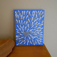 Original Painting Blue and Gold Flower Aboriginal by Acires