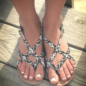 Gulf Stream Black And White Aztec Flat Strappy Sandals