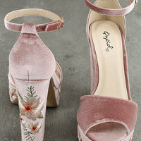Abella Blush Velvet Embroidered Platform Heels