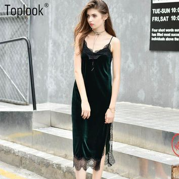 Toplook Sexy Black Lace Velvet Cami Dresses Slip Backless Spaghetti Strap Long Evening Party Robe Side Split 2016 Velour Dress