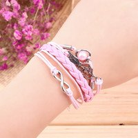 Bracelets Jewelry Infinity Love Heart Pearl Friendship Antique Leather Bracelet 8 Candy Colors for Your Angle