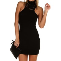 Sale-black Sleek Mock Mini Dress
