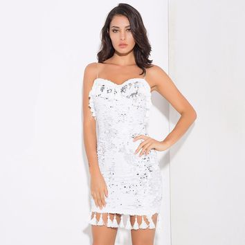 Sexy Wrapped Chest Sequins Tassel Party Mini Dress
