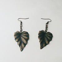Large metal leaf earrings, Copper metal earrings, Artisan hypoallergenic nature inspired earrings