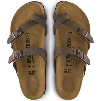Hot Sale Mayari Birkibuc Birkenstock Summer Fashion Leather Beach Lovers Slippers Casual Sandals For Women Men Couples Slippers color Mocha size 36-45