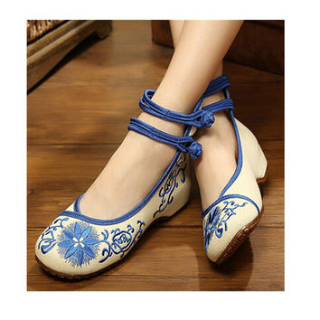Vintage Chinese Embroidered Floral Shoes Women Ballerina Mary Jane Flat Ballet Cotton Loafer Blue