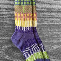 Socks - Hand knit - Wool- Unique Icelandic Design - Multi color - Original design - Washable wool socks.  2.7