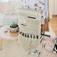 Hand-Woven Wall Hanging in Sand