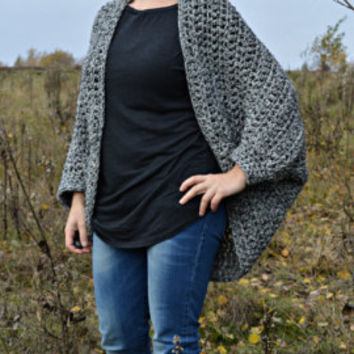 Oversized batwing cardigan hand crocheted of wool & acrylic in black n white melange • cozy cocoon shrug • loose sweater by KnittySunny