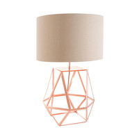 Sophie Geometric Table Lamp in Copper