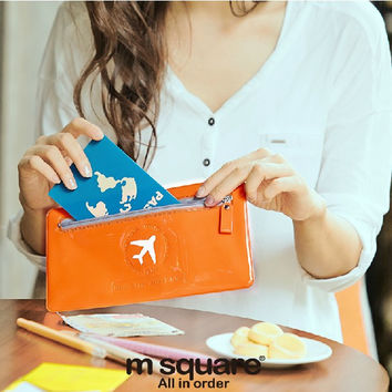 M Square ID Card Holder Passport Cover Wallet Documents Organizer Candy Color Envelope Bag Cell Phone Clutch