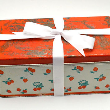 Vintage Curated Gift Box, Strawberry Kitchen, Retro Strawberry Metal Bread Box, Tea Towels, Apron, Doily and More, 1950s