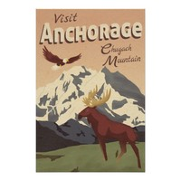 Anchorage Chugach Mountain Vintage Travel Poster