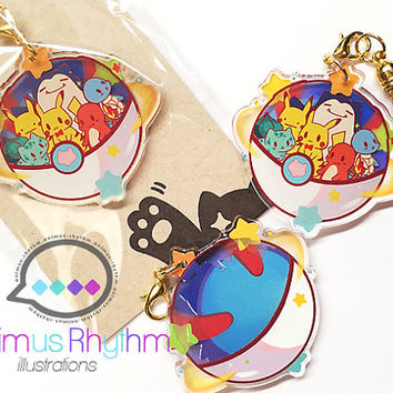 Pokemon Go Lucky Crystal Acrylic Charm Double Sided Pikachu Squirtle Charmander Snorlax Ditto