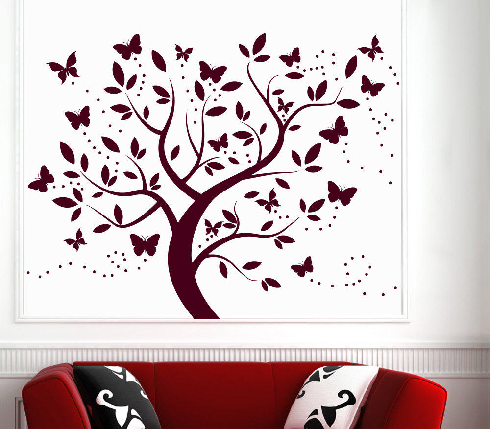 Bedroom wall art trees - Wall Decal Tree Silhouette With Branches Butterfly Art Wall Decals For Kids Playroom Nursery Bedroom Children