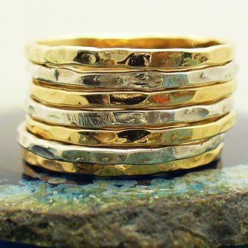 Hammered Sterling Silver 12 kt Gold Filled 7 Band by forkwhisperer
