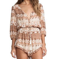 Spell & The Gypsy Collective The Daisy Chain Playsuit in Taupe