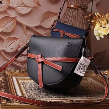Ready Stock Loewe Women's Leather Gate Inclined Shoulder Bag #804