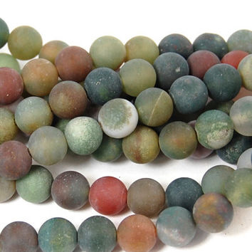 Indian Agate 6mm matte Round Stones -15 inch strand