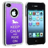 Apple iPhone 4 4S 4G Purple S485 Rhinestone Crystal Bling Aluminum Plated Hard Case Cover Keep Calm and Ride On Horse