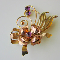 1940s ISKIN Amethyst Floral Brooch / Designer Signed / Retro / 10K Gold Filled / Rose & Green Gold / Vintage Jewelry / Jewellery