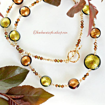 Earthtone Necklace With Olive Green And Brown Hand Blown Murano Glass Beads In A Wonderful Lentil Shape, Murano Glass Necklace  - Forest