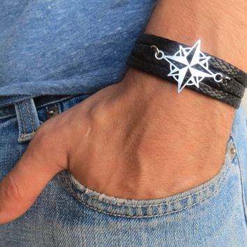 Men's Bracelet - Black Fabric Bracelet With Silver Plated Compass Pendant - Mens Jewelry - Compass Jewelry - Gift for Him