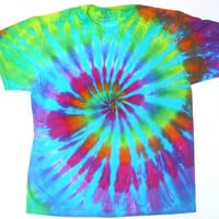 Tie Dye Tshirt/ Rainbow Spiral with Turquoise/ Adult Large